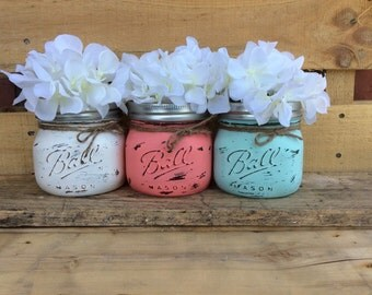 Painted Mason Jars. Vase. Home Decor. Bathroom Decor. Office Decor. Shabby Chic. Rustic. Wedding Gift. Housewarming Gift.
