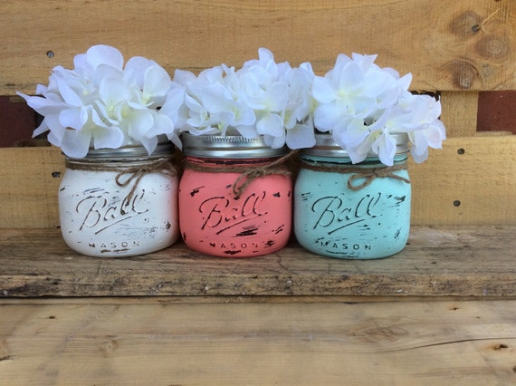 painted mason jars vase home decor bathroom decor office decor