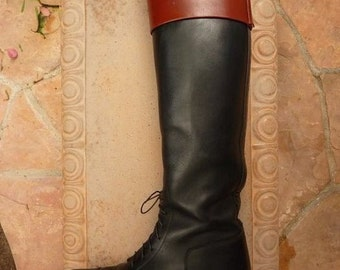 Vintage Late 1980s Womens Black Leather E. Vogel English Riding Field Boots Size 9