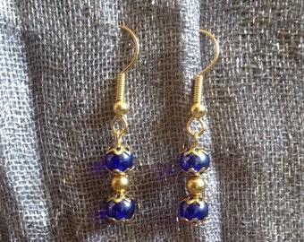 Stylish Blue Glass Earrings