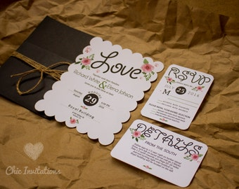 Wedding Invitations Flowers Vintage