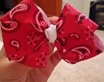 Red Paisley with White Center Hair Bow