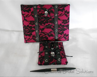 Gothic Wedding Fuchsia Pink and Black Lace Lace-up Guest Book and Guest Pen, Goth Wedding