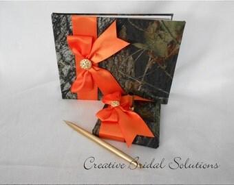 Mossy Oak and Orange Wedding Guest Book & Pen Set