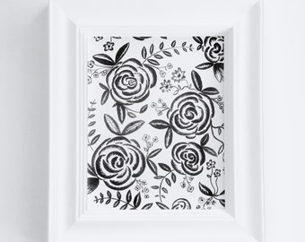 Hand Painted 8x10 Black and White Floral Print