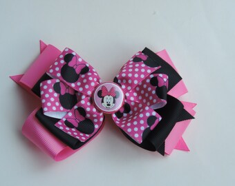 5 inch Minnie Mouse stacked bow with pinwheel top