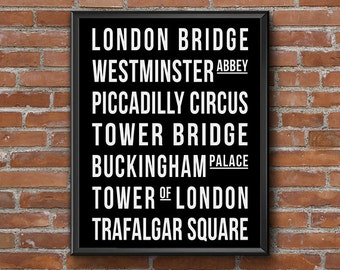 London Subway Art Print, Black & White Bus Roll Printable Wall Art, England Tram Scroll, College Apartment Decor Instant Download Print 8x10
