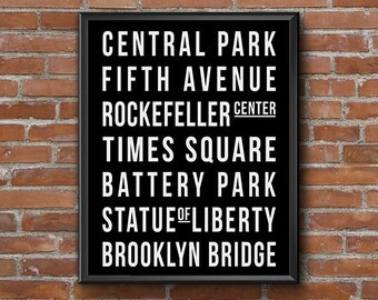 New York City Bus Roll Printable Wall Art, Black & White Subway Art Print, NYC Tram Scroll, Central Park Dorm Decor, Digital Artwork Print