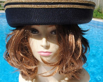 Black and Gold Polypropolene Straw Rolled Brim Hat  Size 22 inch