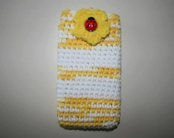 Crocheted  Handmade cell phone case 6 X 3.5 inches