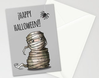 "Halloween Cards ""Happy Halloween""  / mummy Card  (5"" X 7"") / Set of 3/5/10 cards"