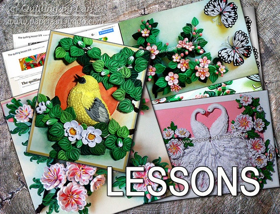 Three Quilling Lessons Demo PDF Art Tutorial  Digital Book - Flowers Leaves Blooming apple tree twig Nestling Tutorial Handmade.