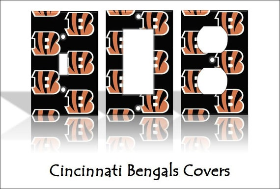 Cincinnati bengals nfl light switch covers by theolswitcheroo for Bengals bedroom ideas