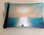 Digital print hand bag  Clutch  sunset with sailboat  FREE SHIPPING