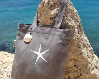 Sailcloth tote bag  Hand painted  Hand made  FREE SHIPPING