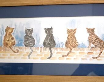 cat picture,framed cat picture,oak frame,pine frame,blue frame,cat illustration,cat painting,zentangle inspired,framed cat print,