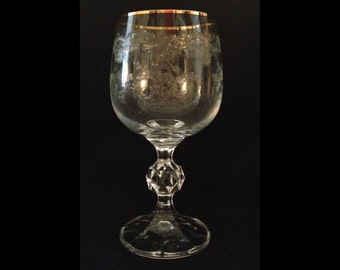 "FREE SHIPPING-Gorgeous-Vintage-Bohemian-Etched-Queens Lace-Gold Trim-5 3/4"" Tall-Stemmed-Wine Glass"