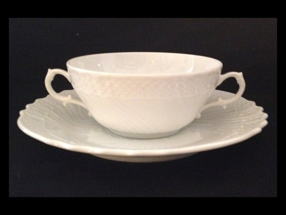 FREE SHIPPING-Richard Ginori-Bianco Vecchio-Italy-White-Basket Weave-Double Handle-Cream Soup-Bowl-With Under Plate