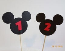 New Mickey Mouse inspired Black 12 cupcake topper 1st 2nd 3rd 4th 5th 6th Birthday gift favor lollipop girls boys unisex confetti Party