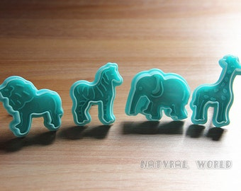 set of 4 embossed wildlife animal cookie cutter, fondant Decorating cutter,Sugarcraft biscuit mold, Paste Tool Cupcake cake accessories