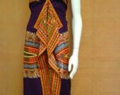 Reduced for Clearance  April Purple Angelina Dashiki African Wax Print Sun Dress Midi Dress  Cotton Dress