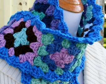 Blues Fall Granny Squares Scarf Hand Crocheted