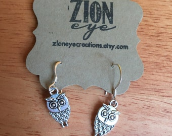 Silver Owl Earrings - Sterling Silver Earwires