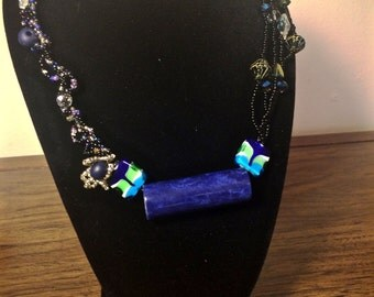 Asymmetrical Intricate Beaded Necklace, Woven Beads, Glass Beads