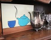 "Tea Pot - A steaming, aqua blue tea pot next to a dark blue tea cup on a cheery yellow background, tea painting. 11""x14"" Acrylic"