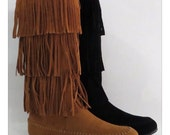 Women's Layered Fringe Boots. Sizes 5.5 to 10. Boutique.