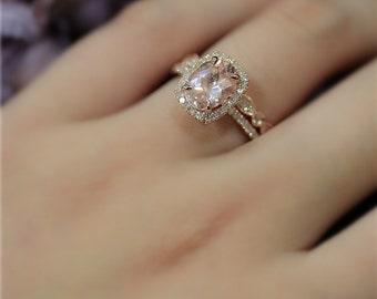 Handmade Morganite Ring Set! Engagement Ring Set 7x9mm Natural VS Pink Morganite Ring Set Solid 14K Rose Gold Ring Wedding Ring Promise Ring