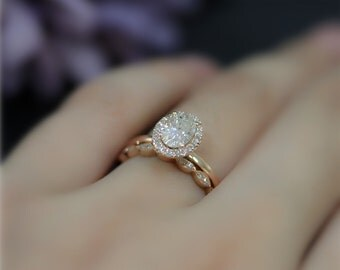AMAZING 1ct Brilliant Moissanite Engagement Ring Set 5x7mm Oval Moissanite  Ring Set Solid 14K Rose Gold Ring Set Wedding Ring Set