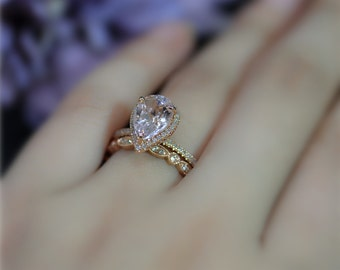 Handmade Morganite Pear 10x7mm Halo Diamond Ring Set! Morganite Engagement Ring Set Solid 14K Rose Gold Ring Set Wedding Set