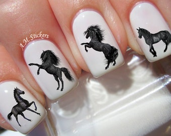 40 Black Horse Nail Decals