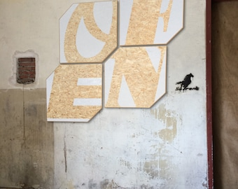 And/or wall panels/OSB typographic wall art