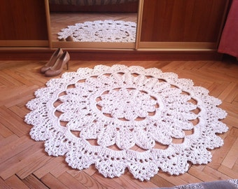 Crochet carpet CHAMOMILE 44 in. Baby rug - Round floor lace living room mat. Wedding gift birthday gift, area rug