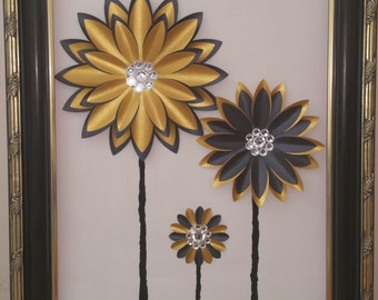 Paper Flower-Framed Paper Flowers on Canvas-Gold and Black