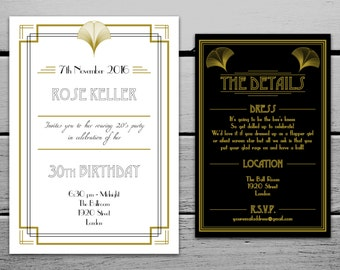 Digital 1920s Great Gatsby Inspired Birthday Invitation and Information Card