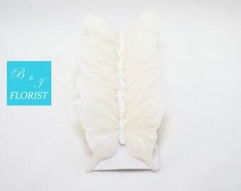 6 Large White Iridescent Glitter Artificial Butterflies - Fake Butterfly - Wedding