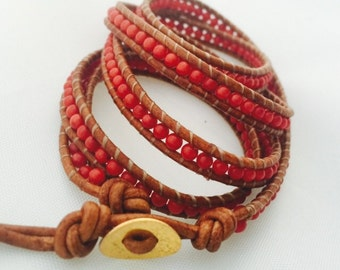 Chan Luu Inspired Red Coral 5 wrap bracelet!