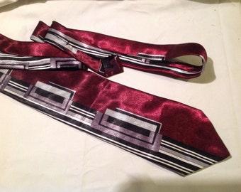 GIANNO Vintage Silk Geometric Black, Grey, Silver Geometric tie..disco