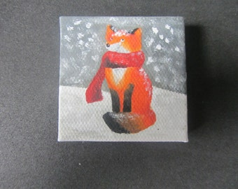 Red Fox with a Scarf Painting, 2x2 square canvas