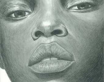 Face of Africa Drawing (print)