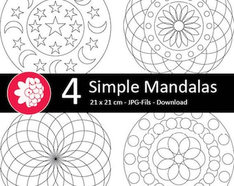 Easy Mandalas to the coloring pages as a download