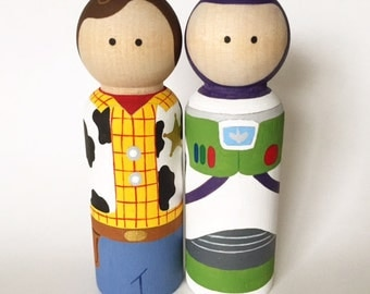 Toy Story Inspired Peg Dolls -- Wooden Peg Toys