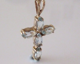 Gold and blue Topaz Cross Pendant