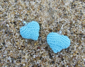 HEART Crochet Earrings. Crochet jevelry. Earrings. Turquoise Earrings. Turquoise Crochet Earrings. Drop Earrings