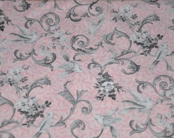 One Yard of Marie Antoinette Pink 100% Cotton Quilt Fabric by North cott