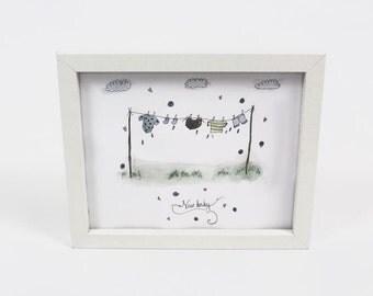 New Baby Illustration Gift - Washing line