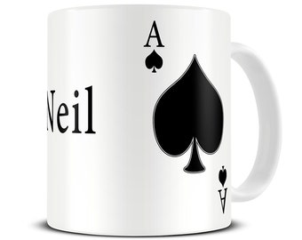 Personalized Ace of Spades Poker Mug - poker gifts - MG198